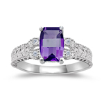 0.04 Cts Diamond & 0.90-0.95 Cts Amethyst Ring in 14K White Gold