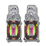 Diamond & 7x5 mm Barrel-Cut Barrel Mystic Topaz Filigree Earrings-14KW
