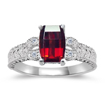 0.04 Cts Diamond & 1.25 Cts of 7x5 mm AAA Garnet Ring in 14K White Gold