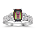 0.04 Cts Diamond & 7x5 mm Barrel-Cut AAA Mystic Topaz Ring in 14KW Gold