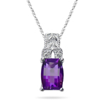 0.04 Cts Diamond & 0.90-0.95 Cts Amethyst Pendant in 14K White Gold