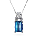 0.04 Cts Diamond & Swiss Blue Topaz Pendant in 14K White Gold