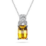 0.04 Cts Diamond & Citrine Pendant in 14K White Gold