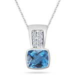 0.10 Cts Diamond & 2.12 Cts Swiss Blue Topaz Pendant in 14K White Gold