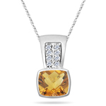 0.10 Cts Diamond & 1.59 Cts Citrine Pendant in 14K White Gold