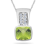 0.10 Cts Diamond & 2.04 Cts Peridot Pendant in 14K White Gold