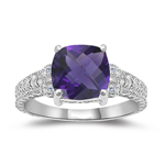 0.04 Cts Diamond & 1.58 Cts Amethyst Ring in 14K White Gold - Christmas Sale