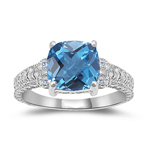 0.04 Cts Diamond & 2.12 Cts AAA Swiss Blue Topaz Ring in 14K White Gold