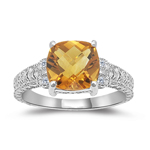 0.04 Cts Diamond & 1.85-1.95 Cts AAA Citrine Ring in 14K White Gold