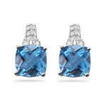 Diamond & 5.00-5.02 Ct AA Cush Check Swiss Blue Topaz Filigree Earrings-14KW