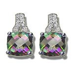 Diamond & 4.24 Ct AA Cush Check Mystic Fire Topaz Earrings-14KW Gold