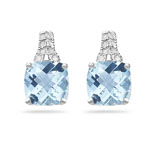 Diamond & 3.88 Ct AA Cush Check Aquamarine Filigree Earrings-14KW Gold