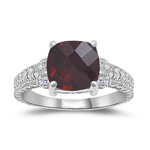 0.04 Cts Diamond & 2.86 Cts Garnet Ring in 14K White Gold