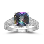0.04 Cts Diamond & 2.12 Cts AAA Mystic Topaz Ring in 14K White Gold