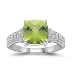 0.04 Cts Diamond & 2.04 Cts of 8 mm AA Cushion Board Chekcer Peridot Ring in 14K White Gold