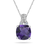 0.04 Cts Diamond & 1.58 Ct Amethyst Filigree Pendant in 14K White Gold
