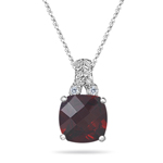 0.04 Cts Diamond & 2.50 Cts Garnet Filigree Pendant in 14K White Gold