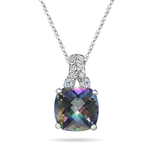 0.04 Cts Diamond & 2.12 Cts Mystic Fire Topaz Filigree Pendant in 14K White Gold