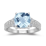 0.04 Cts Diamond & 1.94 Cts of 8 mm AA Cushion Checker Board Aquamarine Ring in 14K White Gold