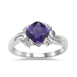 0.05 Cts Diamond & 0.67 Cts of 6 mm AAA Amethyst Ring in 14K White Gold - Christmas Sale