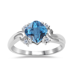 0.05 Cts Diamond & 0.89 Cts AAA Swiss Blue Topaz Ring in 14K White Gold