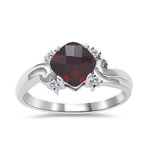 0.05 Cts Diamond & 1.20 Cts Garnet Ring in 14K White Gold