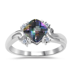0.05 Cts Diamond & 0.89 Cts AAA Mystic Topaz Ring in 14K White Gold