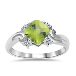 0.05 Cts Diamond & 1.02 Cts AAA Peridot Ring in 14K White Gold