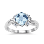 0.05 Cts Diamond & 0.92 Cts AA Aquamarine Ring in 14K White Gold