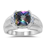 0.08 Cts Diamond & 2.12 Cts Mystic Topaz Ring in 14K White Gold